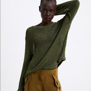 Zara Textured Sweater with Puff Sleeves